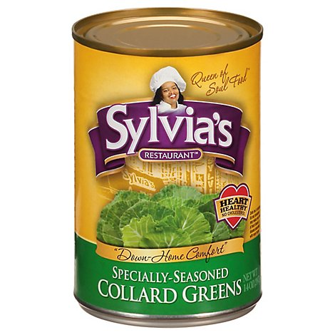 Sylvias Greens Collard Specially-Seasoned - 14.5 Oz