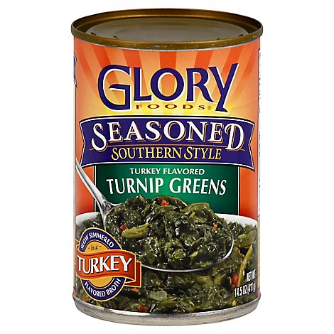 Glory Foods Seasoned Southern Style Greens Turnip Turkey Flavored - 14.5 Oz
