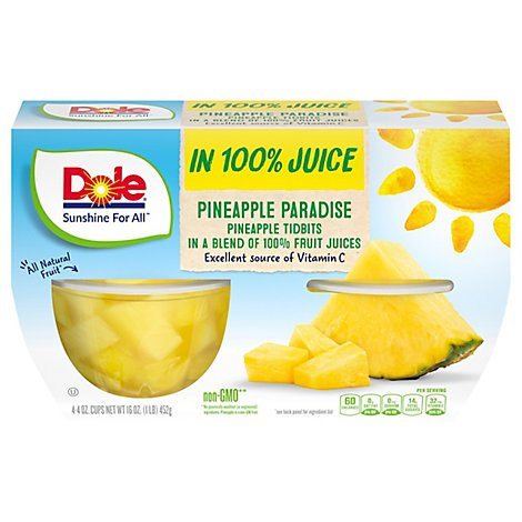 Dole Pineapple Tidbits in 100% Pineapple Juice Cups - 4-4 Oz