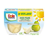 Dole Pears Diced in 100% Juice Cups - 4-4 Oz