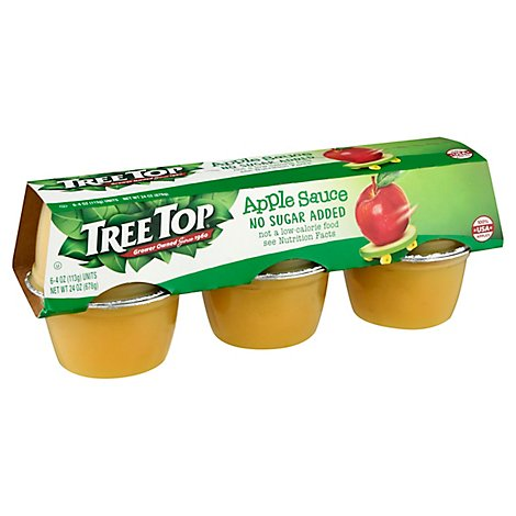 Tree Top Apple Sauce No Sugar Added Cups - 6-4 Oz
