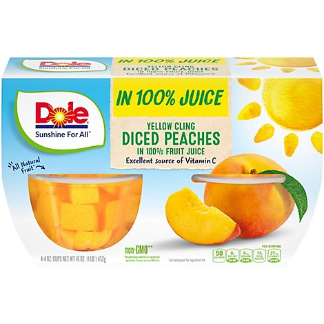 Dole Peaches Diced Yellow Cling in 100% Fruit Juice Cups - 4-4 Oz