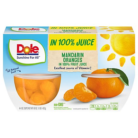 Dole Mandarin Oranges in 100% Fruit Juice Cups - 4-4 Oz