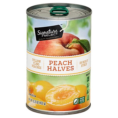 Signature SELECT Peaches Halves in Heavy Syrup Can - 15.25 Oz