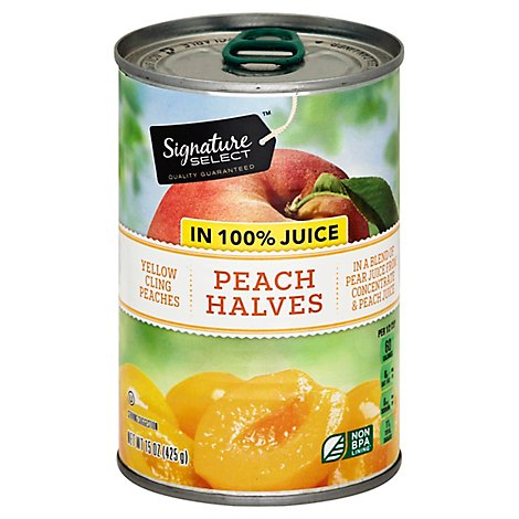 Signature SELECT Peaches Halves in 100% Juice Can - 15 Oz