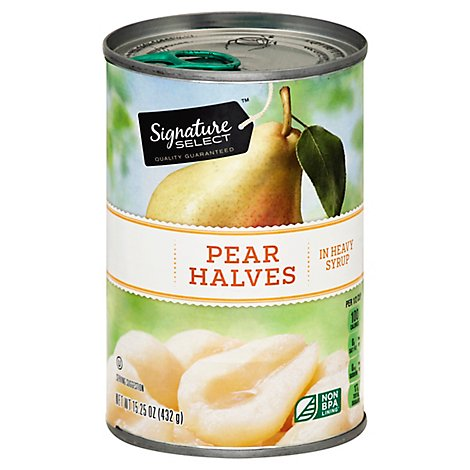 Signature SELECT Pear Halves Bartlett in Heavy Syrup - 15.25 Oz