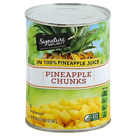 Signature SELECT Pineapple Chunks in 100% Pineapple Juice - 20 Oz