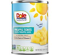 Dole Pineapple Tidbits in 100% Pineapple Juice - 20 Oz