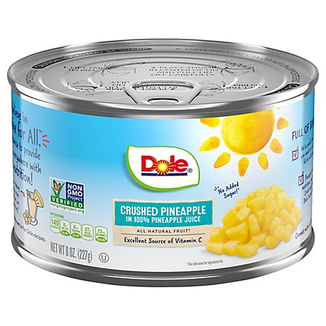 Dole Pineapple Crushed in 100% Pineapple Juice - 8 Oz