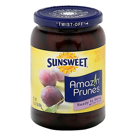 Sunsweet Prunes Ready To Serve with Pits - 16 Oz