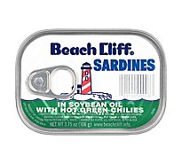 Beach Cliff Sardines in Soybean Oil with Hot Green Chilies - 3.75 Oz