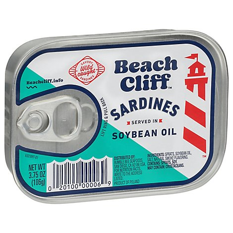 Beach Cliff Sardines in Soybean Oil - 3.75 Oz