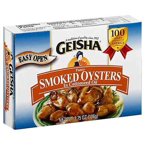 Geisha Oysters Smoked Fancy in Cottonseed Oil - 3.75 Oz