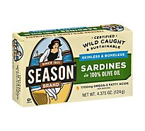 Season Sardines Skinless & Boneless In Pure Olive Oil Can - 4.38 Oz