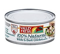 Valley Fresh Chicken White & Dark 100% Natural in Broth - 10 Oz