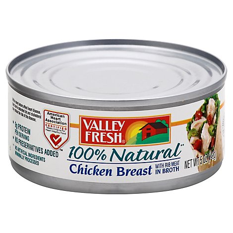 Valley Fresh Chicken Breast 100% Natural with Rib Meat in Broth - 5 Oz