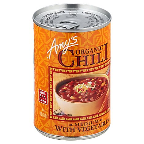 Amys Chili Organic Medium with Vegetables - 14.7 Oz