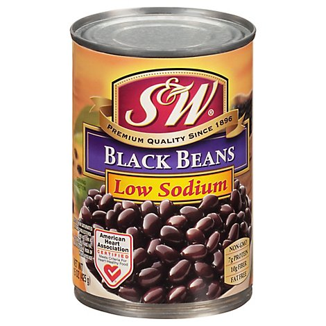 S&W Beans Black 50% Less Sodium - 15 Oz