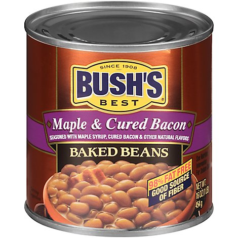 BUSHS Beans Baked Maple Cured Bacon - 16 Oz