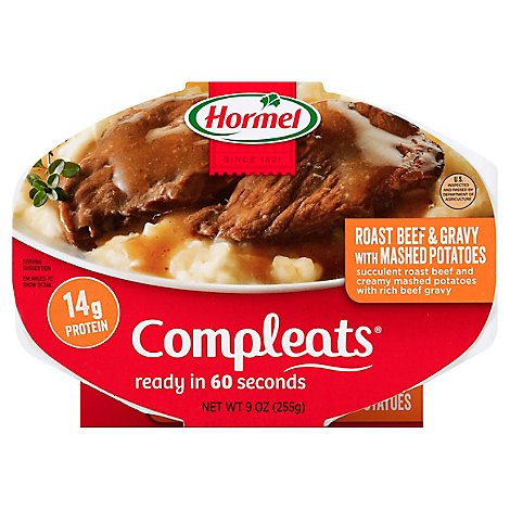 Hormel Compleats Microwave Meals Homestyle Roast Beef & Gravy with Mashed Potatoes - 9 Oz