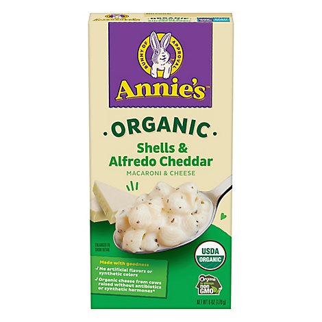 Annies Homegrown Organic Macaroni & Cheese Alfredo Shells & Cheddar Box - 6 Oz