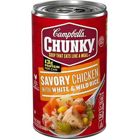 Campbells Chunky Soup Savory Chicken with White & Wild Rice - 18.8 Oz