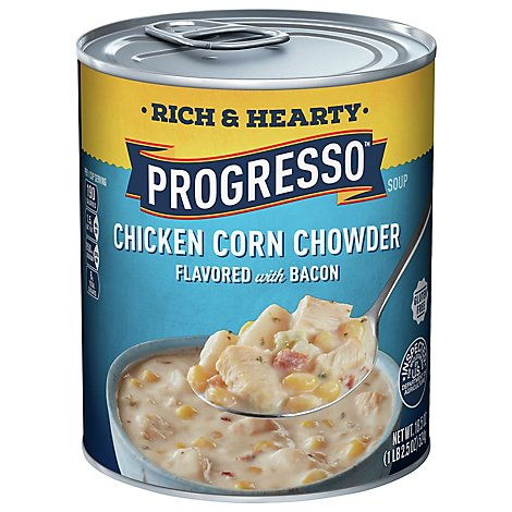 Progresso Rich & Hearty Soup Chicken Corn Chowder Flavored with Bacon - 18.5 Oz