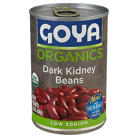 GOYA Organics Beans Dark Kidney Low Sodium Can - 15.5 Oz