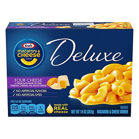 Kraft Macaroni & Cheese Dinner Deluxe Four Cheese Box - 14 Oz
