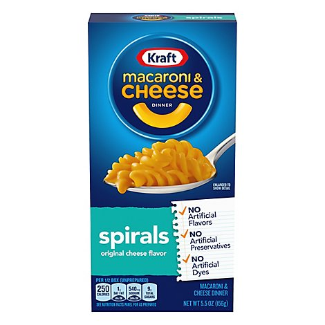 Kraft Macaroni & Cheese Dinner Spirals Box - 5.5 Oz
