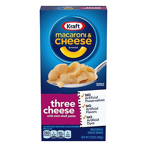 Kraft Macaroni & Cheese Dinner Three Cheese With Mini-Shell Pasta Box - 7.25 Oz