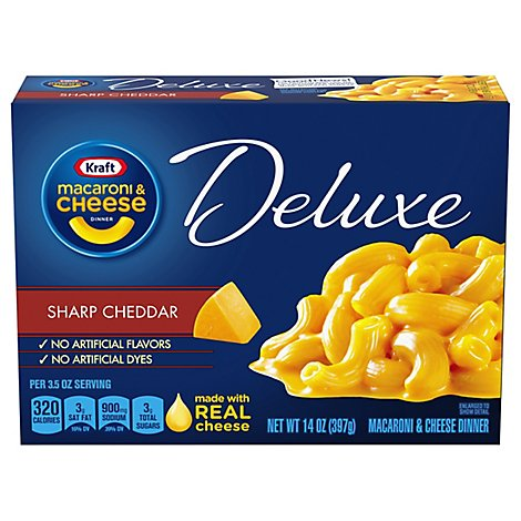 Kraft Macaroni & Cheese Dinner Deluxe Sharp Cheddar Box - 14 Oz