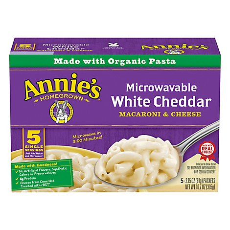 Annies Homegrown Mac & Cheese Microwavable with Real White Cheddar Box - 5-2.15 Oz
