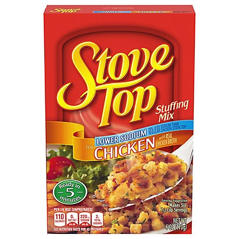 Stove Top Stuffing Mix Lower Sodium for Chicken Box - 6 Oz