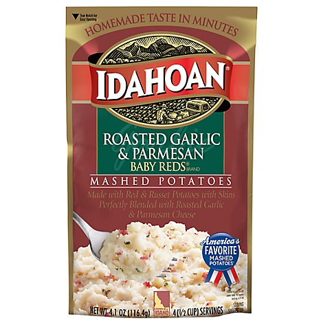Idahoan Potatoes Mashed Baby Reds Roasted Garlic & Parmesan Pouch - 4.1 Oz