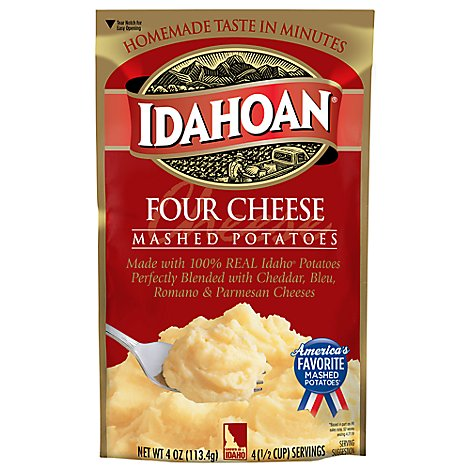 Idahoan Potatoes Mashed Four Cheese Pouch - 4 Oz