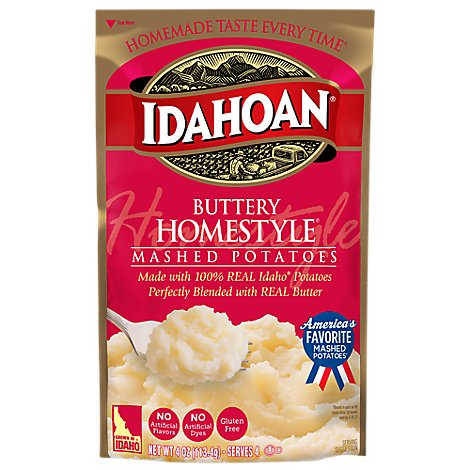Idahoan Potatoes Mashed Buttery Homestyle Pouch - 4 Oz