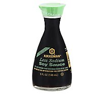 Kikkoman Soy Sauce Traditionally Brewed Less Sodium Non GMO - 5 Fl. Oz.