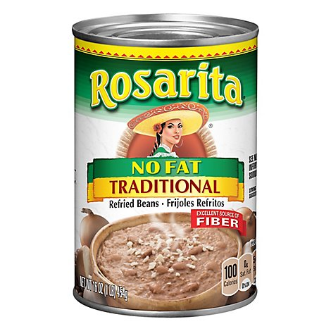 Rosarita Beans Refried Fat Free Traditional Can - 16 Oz