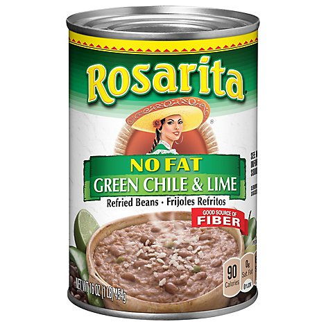 Rosarita Beans Refried No Fat Green Chile & Lime Can - 16 Oz
