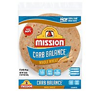 Mission Carb Balance Tortillas Whole Wheat Super Soft Burrito Bag 8 Count - 20 Oz