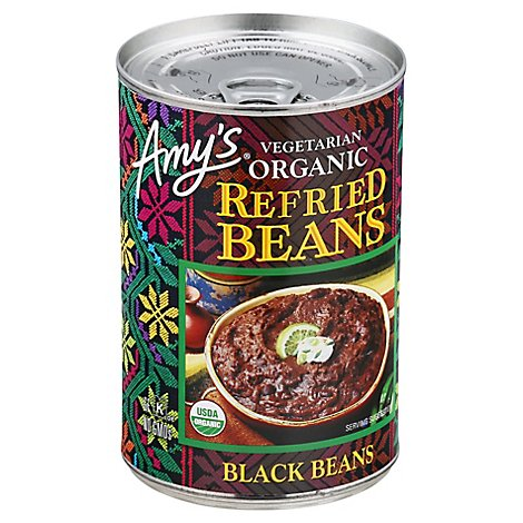 Amys Vegetarian Organic Beans Refried Black Beans Can - 15.4 Oz