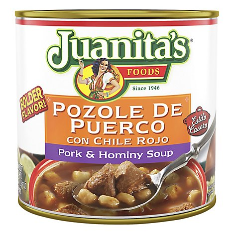 Juanitas Foods Soup Pozole Pork & Hominy Can - 25 Oz