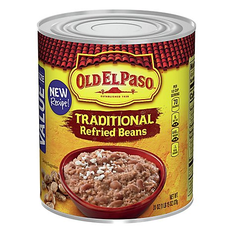 Old El Paso Beans Refried Traditional Can - 31 Oz