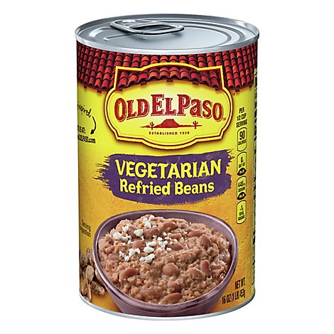 Old El Paso Beans Refried Vegetarian Can - 16 Oz