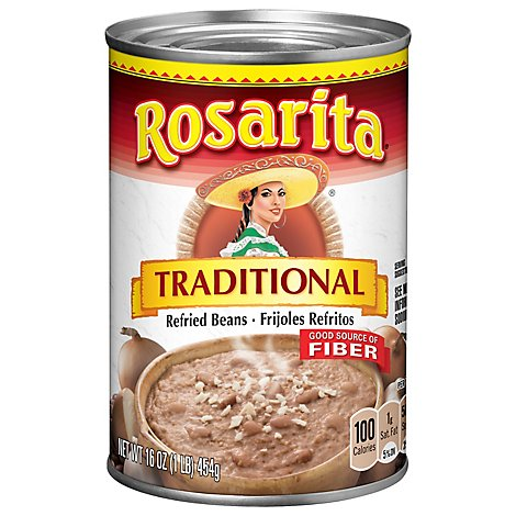 Rosarita Beans Refried Traditional Can - 16 Oz