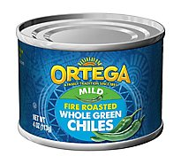 Ortega Green Chiles Whole Fire Roasted Mild Can - 4 Oz