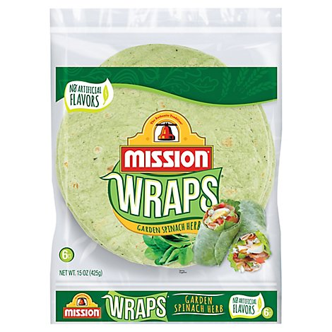 Mission Wraps Garden Spinach Herb Bag 6 Count - 15 Oz