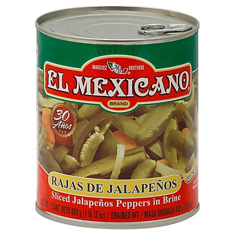 El Mexicano Jalapenos Peppers Sliced in Brine - 28 Oz