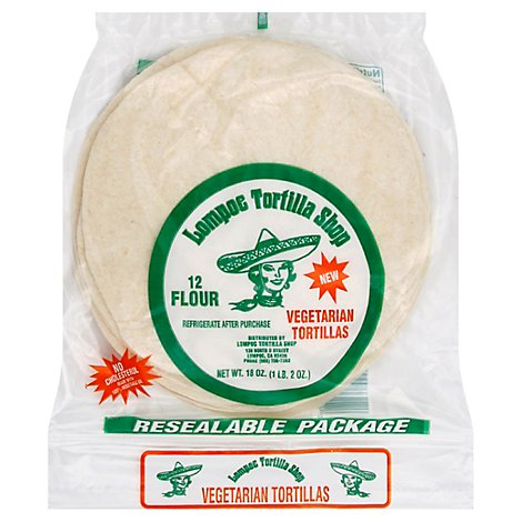 Lompoc Tortilla Shop Tortillas Flour Vegetarian Resealable Pack 12 Count - 18 Oz